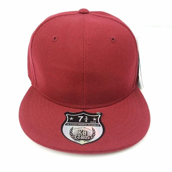 be9915f5f57 Maroon Red Fitted Flat Brim Hat Cap